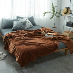 来菲加厚纯色法莱绒毛毯珊瑚绒毯子素色金貂绒六规格咖啡色