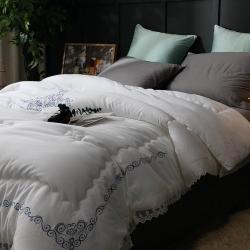 (总)立奥 60s长绒棉冬被全棉磨毛绣花被子高端纯棉被芯