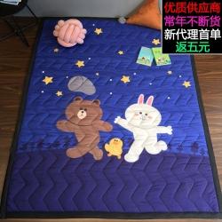 萝莉家纺 卡通棉质地垫 客厅婴儿爬行垫儿童游戏垫卧室满铺地毯