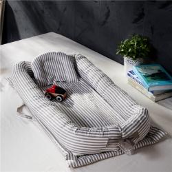 便携式婴儿床全棉床中床新生儿宝宝哄睡觉神器仿生床 灰色条纹