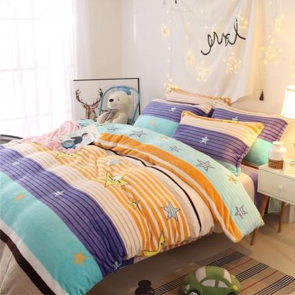 星空密语  44个法莱绒四件套床单款【所有花色床笠款可定做】