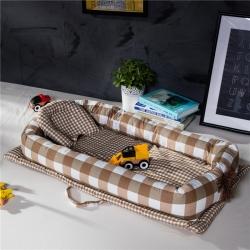 便携式婴儿床全棉床中床新生儿宝宝哄睡觉神器仿生床 咖格