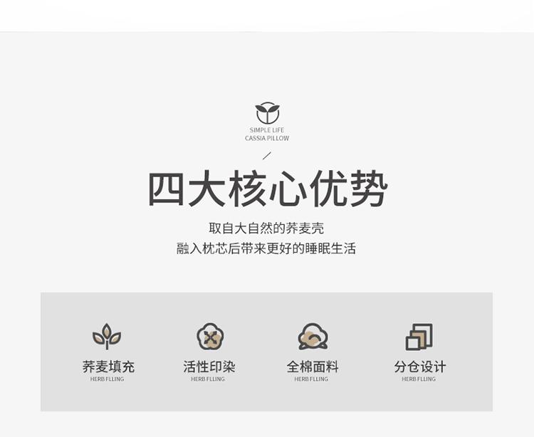 新款全棉老粗布花边荞麦枕方枕(35*55)(图3)