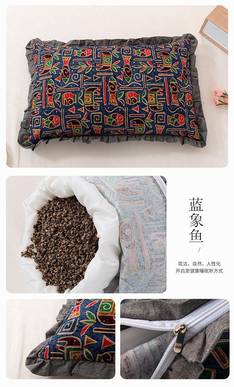 新款全棉老粗布花边荞麦枕方枕(35*55)(图17)