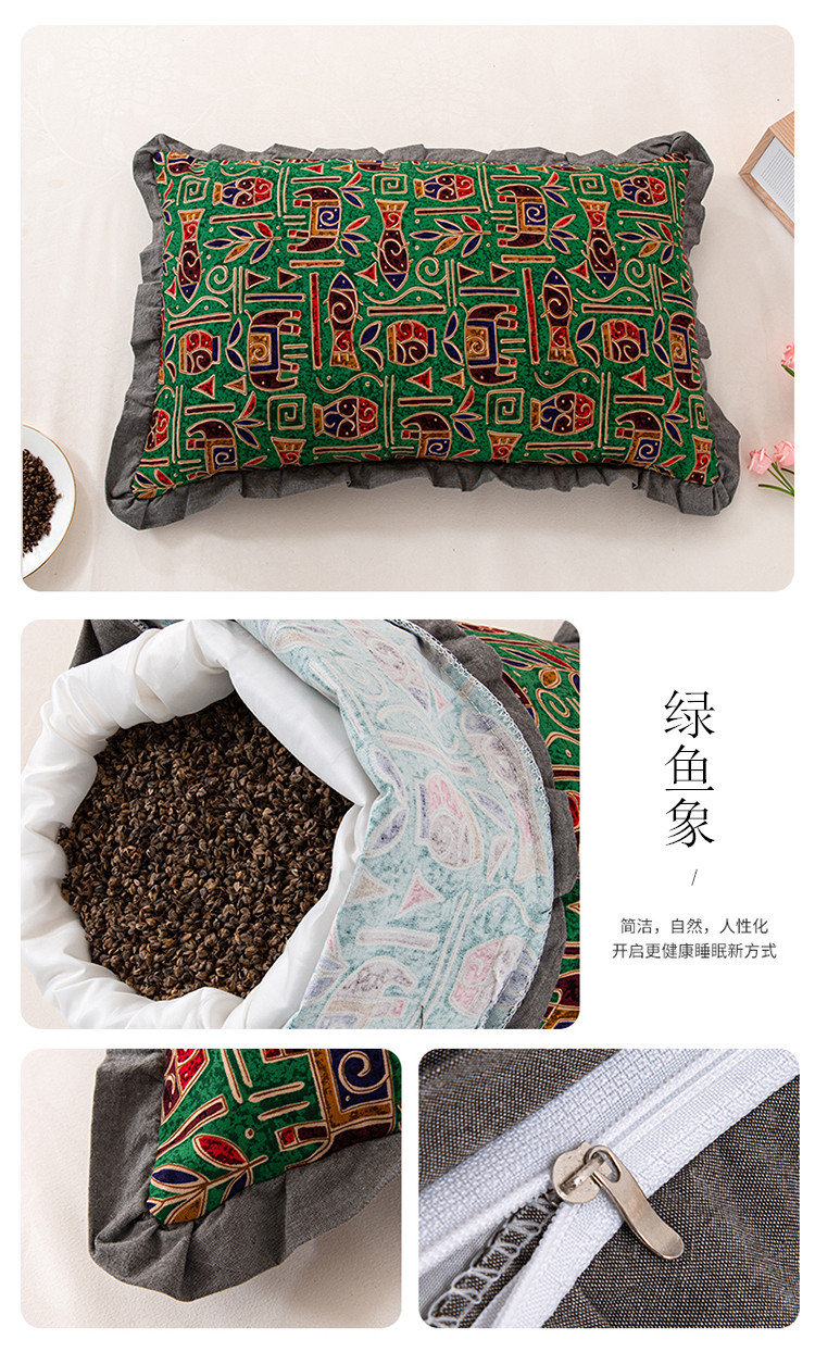 新款全棉老粗布花边荞麦枕方枕(35*55)(图19)