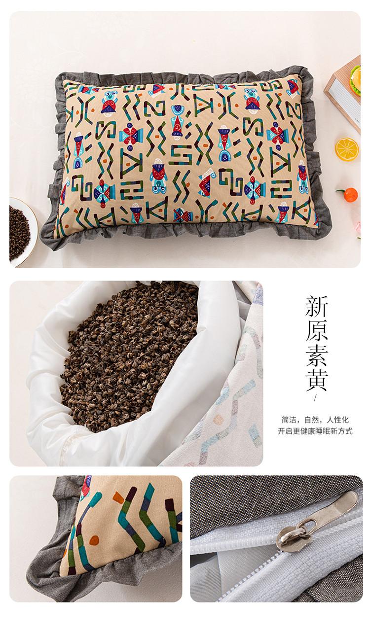新款全棉老粗布花边荞麦枕方枕(35*55)(图21)