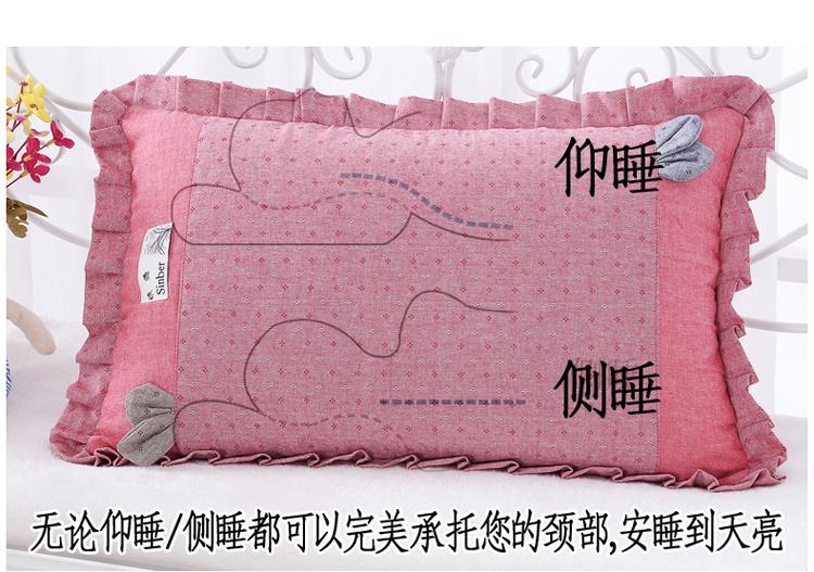 南通家纺 纯色纯棉水洗棉荞麦枕花边枕头(图4)