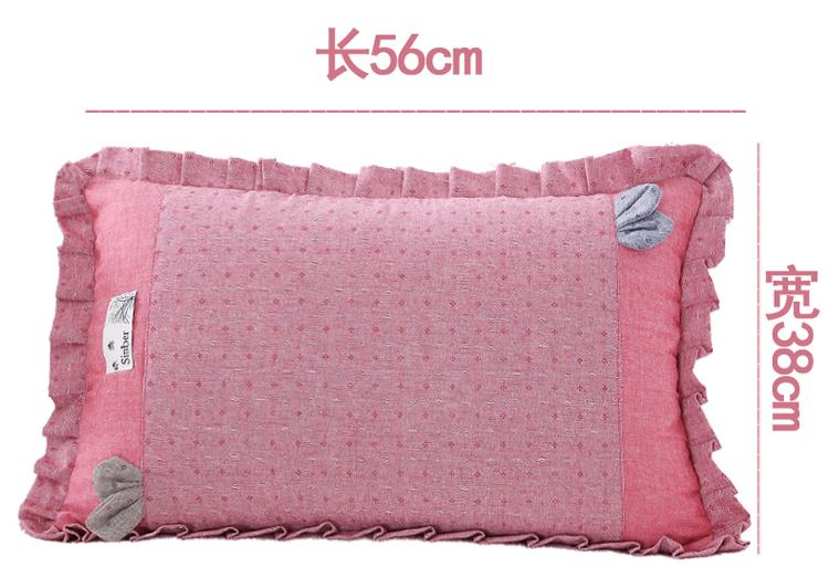 南通家纺 纯色纯棉水洗棉荞麦枕花边枕头(图11)