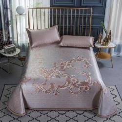 大集凉席 轻奢冰丝床单席 夏洛的花园-银金