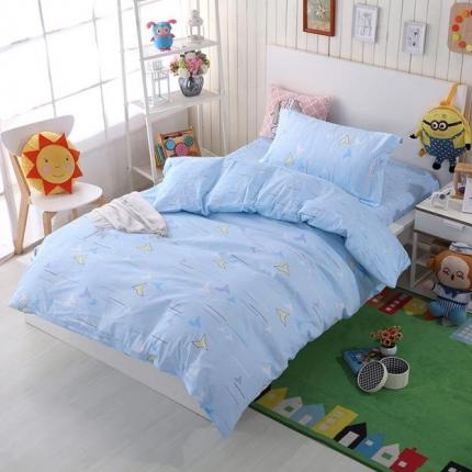 格子先生 简约时尚12868全棉三件套千纸鹤-蓝