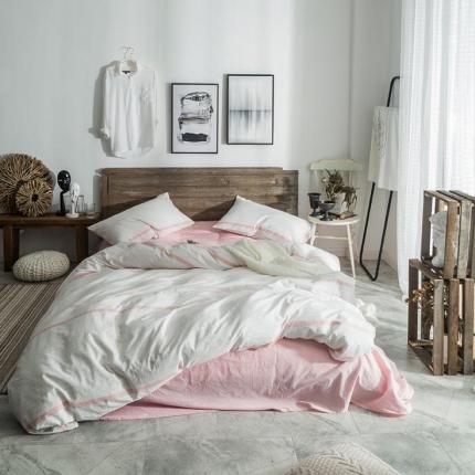 (总)欧麦家家纺 无印新款全棉水洗棉四件套床笠款