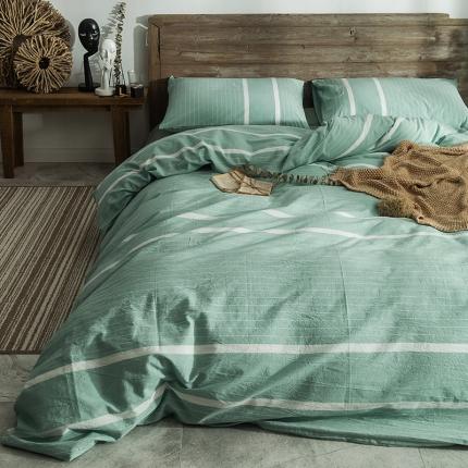 欧麦家家纺 无印新款全棉水洗棉四件套床单款 碧纱