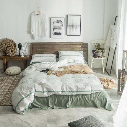 欧麦家家纺 无印新款全棉水洗棉四件套床单款 兰木