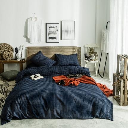 欧麦家家纺 无印新款全棉水洗棉四件套床单款 小兰格