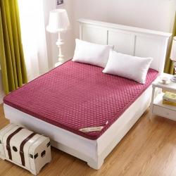 布卢姆床垫 2018新品珊瑚绒立体床垫 酒红