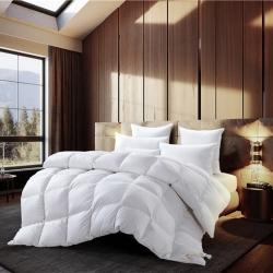 绒研羽绒 100支全棉缎条羽绒冬暖被 白色