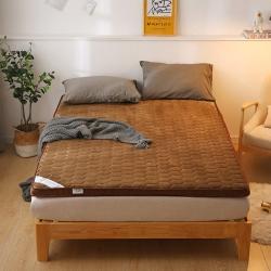 貝織2019新款爆款透氣法萊絨床墊保暖硬質立體加厚7厘米棕色