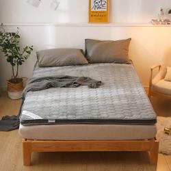 貝織2019新款爆款透氣法萊絨床墊保暖硬質立體加厚7厘米灰色