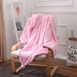 花香四季 兔兔绒毛毯粉色