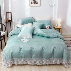 花香四季简约蕾丝水洗真丝四件套被套被子床笠床单冰丝套件 绿色