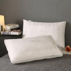 浩宇枕业新款全棉枕芯刺绣款成人羽丝绒枕头纯棉立体绣花玫瑰-白