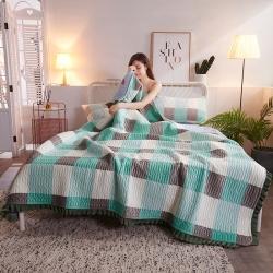 萬顏居 2019新款水晶絨床蓋三件套 經典一號-綠
