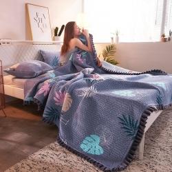萬顏居 2019新款水晶絨床蓋三件套 情意綿綿-藍