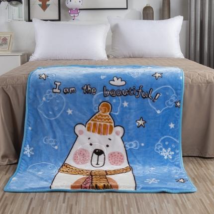 素素纺织 双层加厚保暖立体压花童毯云毯 围巾熊