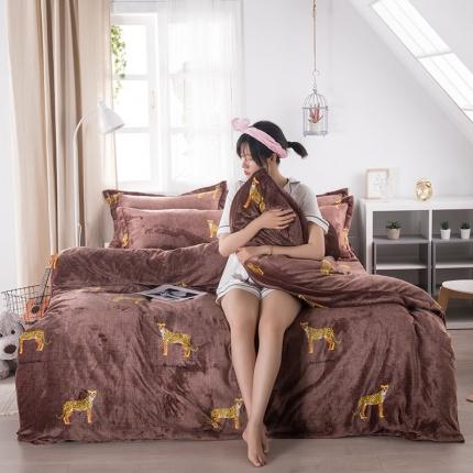 素素纺织韩版抗静电珊瑚绒法兰绒牛奶绒活性印花四件套金钱豹咖