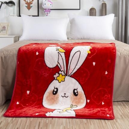 (总)素素纺织 双层加厚保暖立体压花童毯云毯