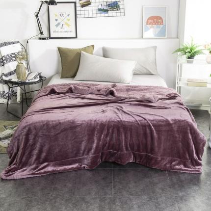 素素纺织 2019新款双层加厚羊羔绒+法兰绒双拼毛毯 紫罗兰