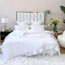 美顏 2019新款80支天絲床裙款四件套 初戀白色