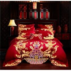 红番天 40s全棉13372刺绣婚庆多件套 金龙金凤 系列三