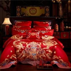 红番天 40s全棉13372刺绣婚庆多件套 龙凤至尊 系列三
