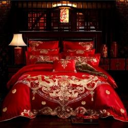 红番天 40s全棉13372刺绣婚庆多件套 天生一对 系列三