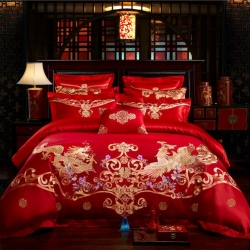 红番天 40s全棉13372刺绣婚庆多件套 嫁给爱情 系列三