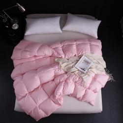 微枕芯家纺 2018新款70绒白鹅绒羽绒被 粉红色