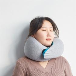 微枕芯家纺 新款高档鸵鸟U型旅行颈椎枕含收纳袋