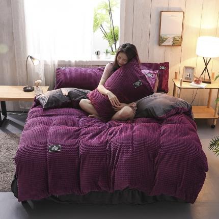 优贝家纺 2019新款魔法绒四件套 魅力紫-方格