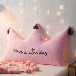 永光家居 新款皇冠靠垫 水晶绒-粉 床头靠垫大靠枕抱枕