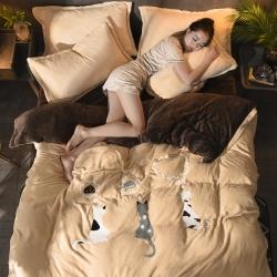 慕尚家纺2017超级大版毛巾绣法兰绒四件套床单款优雅猫驼咖啡