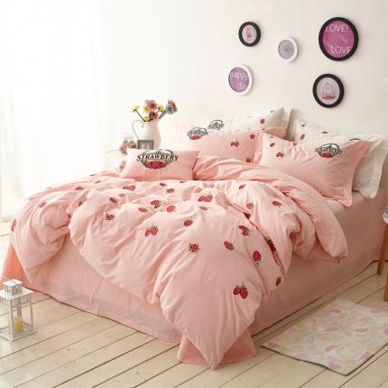 一岚家居 水洗棉四件套草莓物语系列草莓物语粉