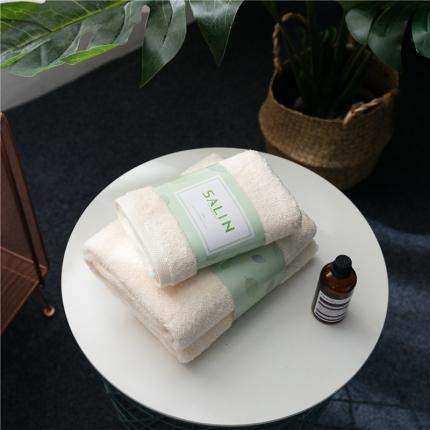 一岚家居 马卡龙素色浴巾毛巾套装玉色毛巾