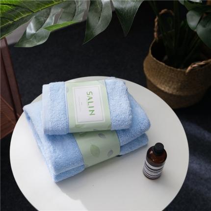 一岚家居 马卡龙素色浴巾毛巾套装蓝色毛巾