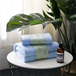 拂微家纺 马卡龙素色浴巾毛巾套装蓝色浴巾