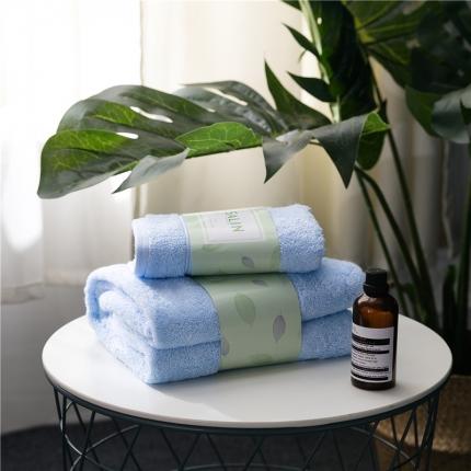 一岚家居 马卡龙素色浴巾毛巾套装蓝色浴巾