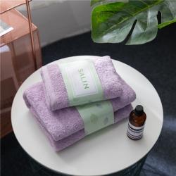 拂微家纺 马卡龙素色浴巾毛巾套装紫色毛巾