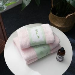 拂微家纺 马卡龙素色浴巾毛巾套装粉色毛巾
