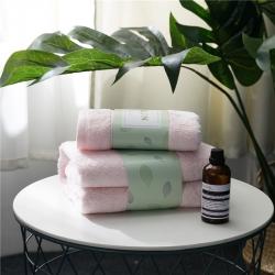 拂微家纺 马卡龙素色浴巾毛巾套装粉色浴巾