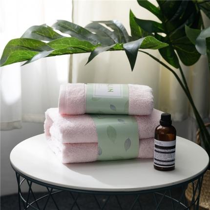 一岚家居 马卡龙素色浴巾毛巾套装粉色浴巾